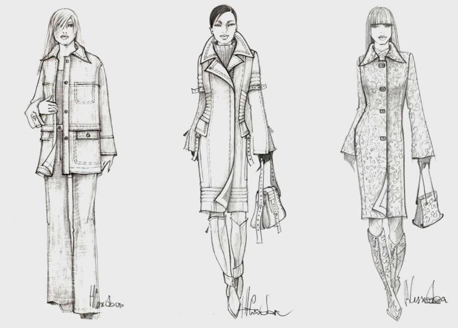 эскизы женских демисезонных моделей одежды.